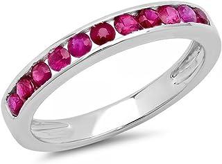Dazzlingrock 系列 0.50 克拉 (ctw) 10K 白金圆形红宝石女士周年结婚可堆叠戒指 1/2 克拉