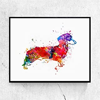 Dachshund Dog Watercolor Art Painting Kids Wall Art Inspiration Sausage Dog Prints Poster Nursery Pet Decor 8x10 Inches No Frame