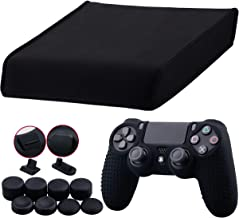 9CDeer Soft Neoprene Dirt Dust Protective Cover Black for PS4 PRO Horizontal Version + 1 Piece Controller Silicone Cover camouflage blue + 2 Pieces Controller Dust Proof Plugs + 8 Pieces Thumb Grips