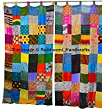 2 cortinas reversibles de estilo indio vintage Sari multicolor hechas a mano con patchwork, cortinas decorativas para el hogar (variadas)