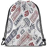 Bolso de cordón Informal para Hombres y Mujeres símbolos de Atracciones turísticas de Londres Big Ben Bus Taza de té Bandera teléfono Paraguas refrescante
