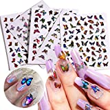 Butterfly Nail Art Stickers Decals 8Sheets Laser Butterfly Nail Decals Nail Art Supplies 3D Self-Adhesive Colorful Butterfly Nail Stickers for Women DIY Acrylic Nail Art Decorations Designs