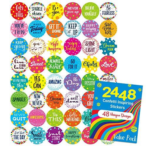 "2448 Pcs Teacher Reward Encouraging Confetti Sticker Mega Pack in 48 Designs (Each Measures 1"" in Diameter)"