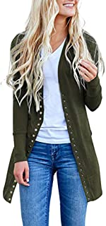 Womens Long Autumn Coat Button-Down Knitwear Cardigan Solid Color Fashion Sweatshirt