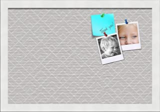 PinPix ArtToFrames 18x12 Custom Cork Bulletin Board. This Peaks Modern Pattern Grey Pin Board Has a Fabric Style Canvas Finish, Framed in Satin White (PinPix-1794-18x12_FRBW26074)