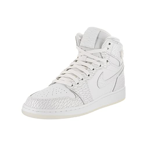 sneakers for cheap d35ec 4bbd7 Jordan Bambina, Air 1 Retro High Premium GS White Pure Platinum, Pelle,  Sneakers