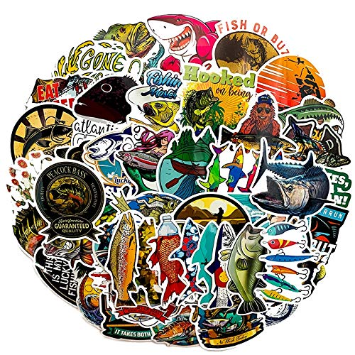 TTBH 65Pcs Fun Fisherman Goes Fishing Sticker Refrigerator Scooter Luggage Gear Decorated Motorcycle Stickers