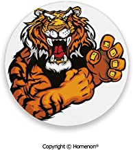 Cartoon Styled Very Angry Muscular Large Cat Fighting Mascot Animal Growling Print,Absorbent Ceramic Coasters For Drinks Black Orange,3.9×0.2inches(4PCS),Protect Furniture From Coffee Or Tea