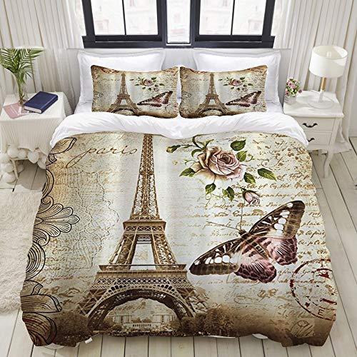 BROWCIN-Funda nórdica,Paris Torre Eiffel Mariposa y Flor con 2 Fundas de Almohada.240 x 260 cm