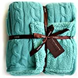 Cable Knit Sherpa Oversized Throw Reversible Blanket Faux Sheepskin Lined Cozy Cotton Blend Sweater Knitted Afghan in Grey White or Turquoise Blue (Turquoise)
