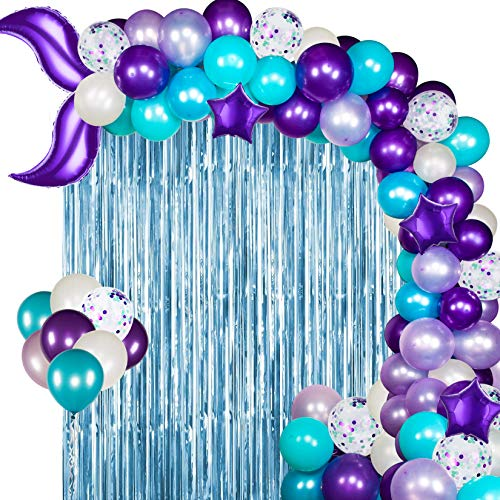 Mermaid Balloon Garland 121 Pcs Mermaid Balloons with Light Blue Foil Fringe Curtain, Mermaid Tail Foil Balloons for Mermaid Ocean Theme Party Under The Sea Party