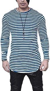 Howely Men Striped Horizontal Stripe Basic Pattern Tee T Shirt Top