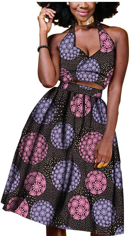 African Dresses 2 Pieces for Women Party Wear Wax Print Ankara Crop Top+Skirt Beige