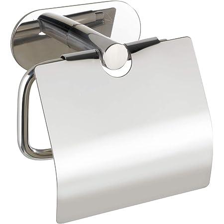 WENKO Dérouleur de papier hygiénique Turbo-Loc avec couvercle Orea Shine, fixation sans percer de trous, porte-rouleaux de papier avec couvercle pour la protection, inox brillant, 14 x 12,5 x 7 cm