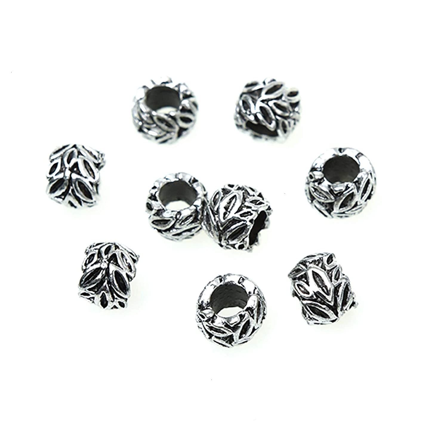 Monrocco 100 Pack Antique Silver Metal Leaf Beads Large Hole Rondelle Spacer Beads European Bracelet Charm Beads for Jewelry Making