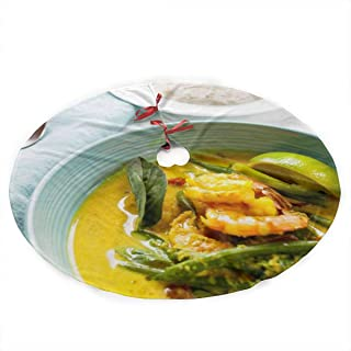 YANGGE Christmas Tree Skirt Cambodian Coconut Shrimp Vertical Xmas Ornament,Holiday New Year Party Decoration