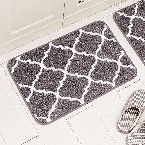 Carvapet 2 Pieces Microfiber Moroccan Trellis Non-Slip Soft Kitchen Mat Bath Rug Doormat Runner Carpet Set, 17
