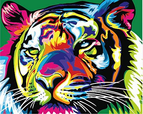Malen Nach Zahlen DIY Ölgemälde Set für Erwachsene Kinder Anfänger Selber Auf Leinwand Malen Nach Zahlen Zur Heimdekoration Bunter Tiger 40x50 cm (Rahmenlos)