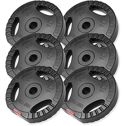 GORILLA SPORTS® Hantelscheiben-Set 30 kg Kunststoff Gripper – 6 x 5 kg Gewichte mit 30/31 mm Bohrung