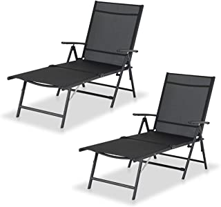 Aoxun Chaise Lounge Outdoor - Folding Chaise Lounge Chair Outdoor Adjustable Textiline Reclining Lounge Chair for Beach Yard Pool Patio with 7 Back & 2 Leg Positions (Set of 2, Black)