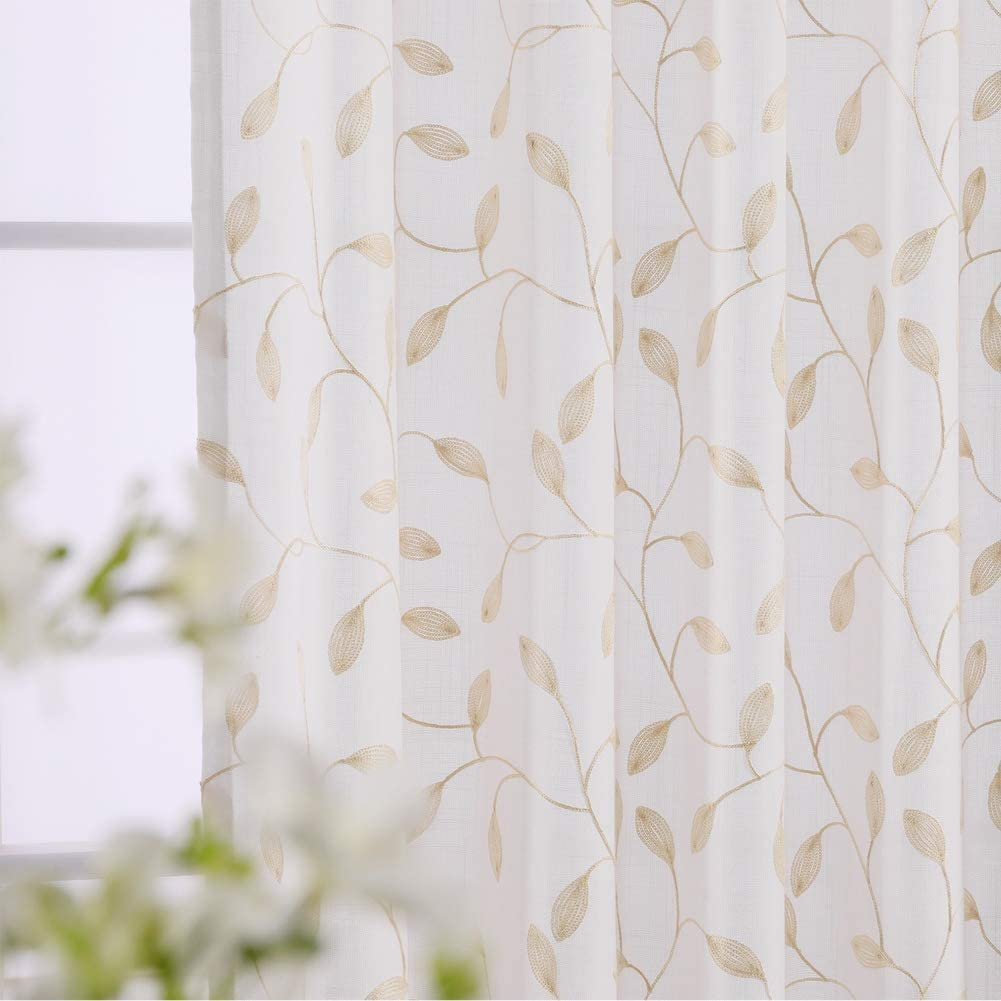 Twin Six Max 41% OFF Embroidered OFFicial shop Curtains Thick Dra Floral Faux Design Linen