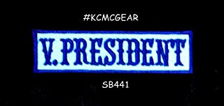 V. President Blue on White Iron on Small Patch for Motorcycle Biker Vest S
