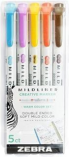 Zebra Pen PK Warm Zebra Zensation Mildliner, Double Ended Highlighter, Broad and Fine Tips, Assorted Colors, 5-Count, 5 Pack