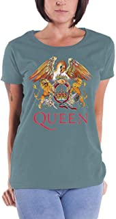 Queen T Shirt Classic Crest Band Logo 新しい 公式 レディーズ Skinny Fit