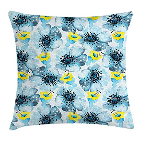 FAFANIQ Watercolor Flower Throw Pillow Cushion Cover, Vintage Pattern with Poppy Flower with Watercolor Art Effect, Decorative Square Accent Pillow Case, Pale Blue Yellow Black, 18 X 18 Inches