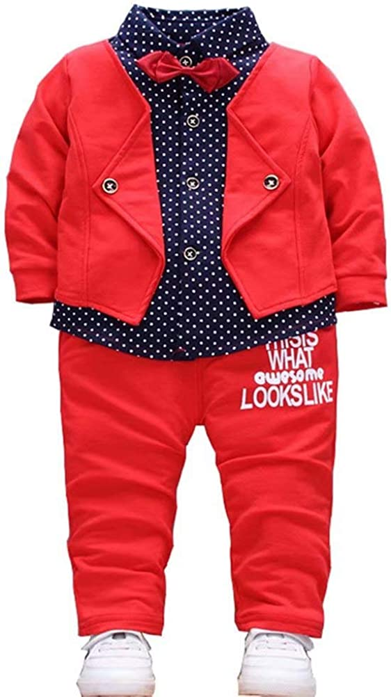 Baby Boys Dress Clothes Toddlers Tuxedo Outfits Gentleman Shirt + Pants + Bowtie