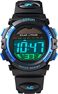 Kids Solar Watches Digital Outdoor Sport Waterproof Electrical EL-Lights Watches with Alarm Luminous Stopwatch Casual Military Child Wrist Watch Gift for Boys Girls