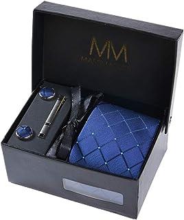 Massi Morino - Men tie set (incl. handkerchief + cufflinks + tie pin) Italian style ties for men