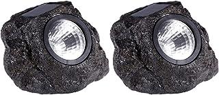 Mobestech 2pcs Solar Rock Lights LED Waterproof Landscape Lights Rock Spotlight Solar Garden Lights Patio Lighting