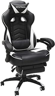 RESPAWN 110 Racing Style Gaming Chair, Reclining Ergonomic Leather Chair with Footrest, in White (RSP-110-WHT)