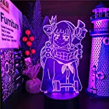 Luz nocturna 3D LED de anime Himiko Toga, lámpara 3D My Hero Academia LED Night Light para niñas y niños, decoración manga de cumpleaños, regalo de himiko Toga, lámpara de Navidad, 7 colores táctiles