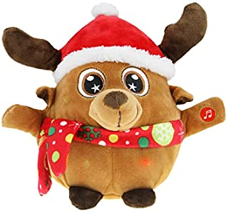 Merry Christmas Decoration Animated Musical Santa Claus Elk Figurine LED Glowing Soft Plush Stuffed Doll Singing Christmas...