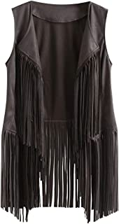 NANTE Top Loose Women's Blouse Autumn Winter Suede Ethnic Sleeveless Tassels Fringed Vest Cardigan Womens Tops Costume