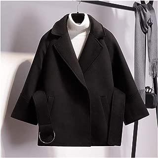 LUKEEXIN Women Short Woolen Coat 2019 Autumn Winter Fashion Cape Coat Female Belt Jacket Black Khaki Apricot Plus Size