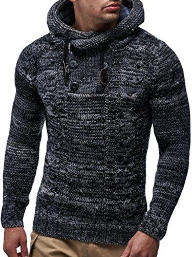 Leif Nelson Herren Strick-Pullover Strick-Pulli mit Kapuze Moderner Winter Woll-Pullover Langarm-Sweatshirt Slim Fit LN20227 Schwarz Small