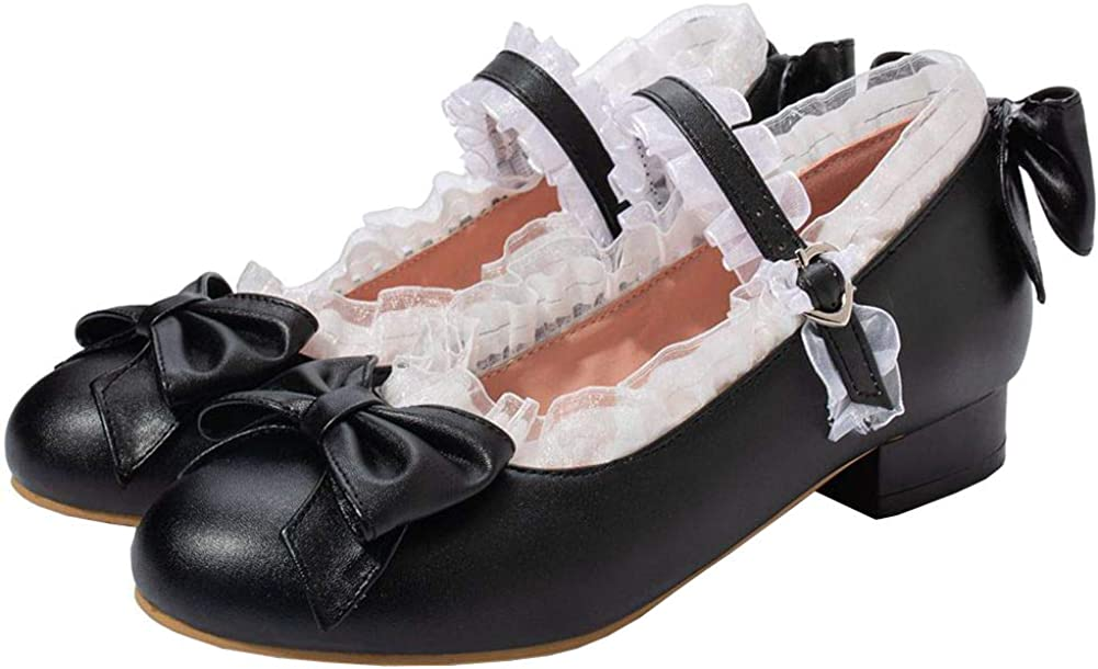 LUXMAX Max 45% OFF Women Lolita Mary Jane Lace Shoes Pumps Flats Rockabilly NEW before selling ☆