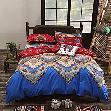 Vaulia Lightweight Microfiber Duvet Cover Set, Bohemia Exotic Patterns, Reversible Color Design, Blue/Red Multi-Color, King Size