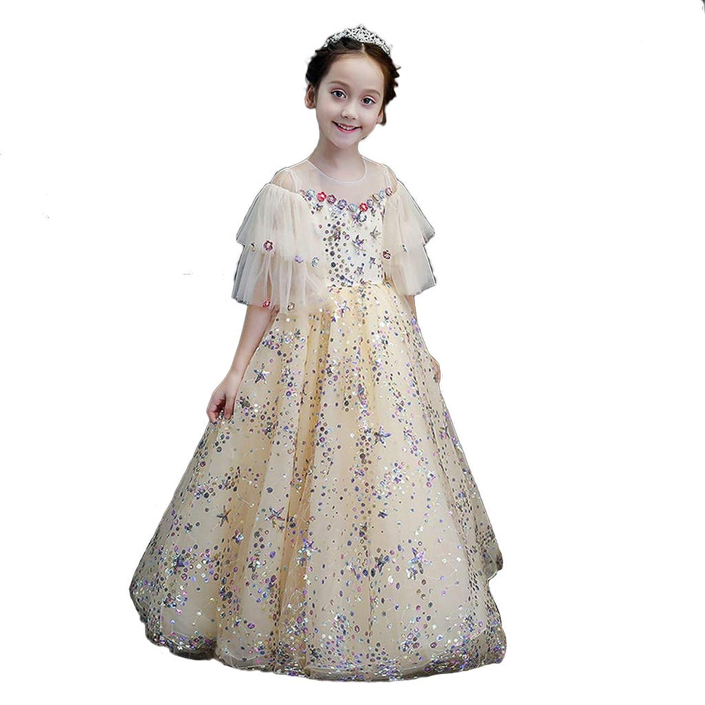 Jamalac 子供発表会ドレス 女の子 ファッション 洋式 ワンピース ピアノ 演奏会 発表会 結婚式 プロムボールドレス 110
