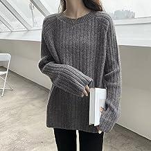 Dames Trui - Herfst En Winter Warme Trui Dames Halflange Gebreide Mode Grijze Losse Verticale Strepen Pullover Elegante Bu...