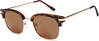 VVDQELLA Bifocal Reading Sunglasses with UV400 Protection Lens for Men's & Women, Retro Outdoor Bifocal Readers (Brown, 2.5)