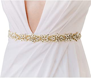 SWEETV Rhinestone Bridal Belt Sash Wedding Dress Belt Crystal Applique for Bridesmaid Gown