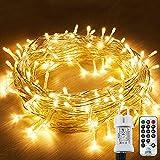 Cadena de luces para exteriores, 12 m, 120 ledes, cable de alimentación con 8 modos, resistente al agua IP44 + IP65, para árbol de Navidad, Navidad, fiestas, decoración de boda, blanco cálido