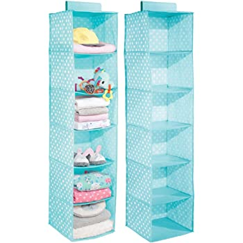 mDesign Soft Fabric Over Closet Rod Hanging Storage Organizer with 6 Shelves for Child/Kids Room or Nursery - Polka Dot Pattern - 2 Pack - Turquoise Blue with White Dots