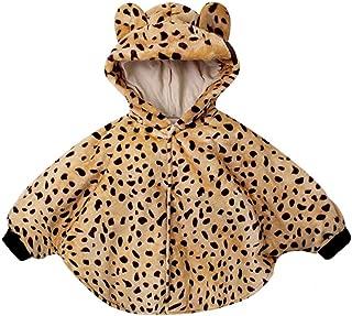 ALLTB Unisex Baby Cartoon Fleece Hoodie Cape Winter Warm Leopard Bear Cloak Snowsuit Outwear Poncho Coat