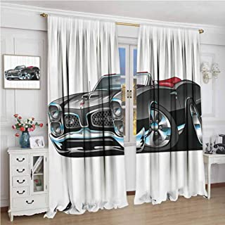 GUUVOR Cars Blackout Curtain Fancy American Nostalgic Sports Muscle Car with Speeding Wheels Tires Symbol Print 2 Panels W84 x L108 Inch Pale Grey Blue