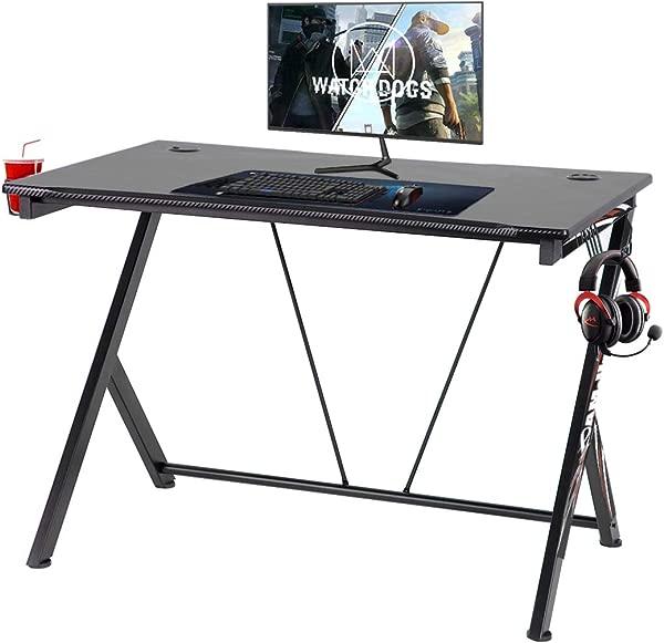 Mellcom Ergonomic Gaming Desk 43 Inch Computer Desk Office PC Table With Cup Headphone Holder Writing Desk Workstation Removable Leg Sticker